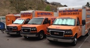 Water and Mold Damage Restoration Fleet Outside Headquarters